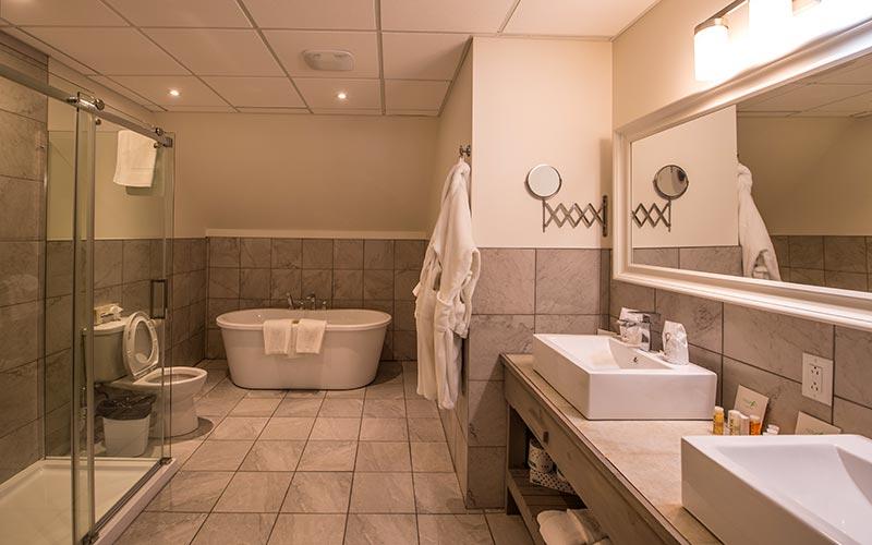 Suite luxueuse avec salon, cuisine, foyer au bois et 2 chambres privées - Auberge du Vieux Moulin