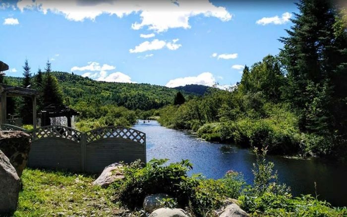 Canot on the riviere at the Auberge du Vieux-Moulin in Lanaudière